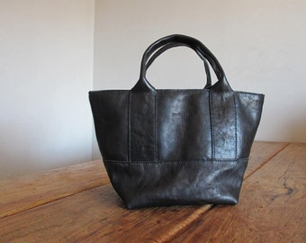 Hand Stitched Simple Leather Tote Bag - Black -
