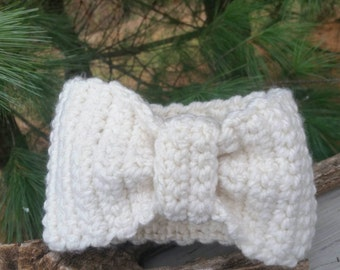 Off White Chunky Turban Style Earmuff Headband