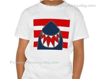Sharky shark t-shirt kids to teen shirt choose your size  xs s m l  red blue sharks fun cute shark 100 percent cotton tagless boys girls