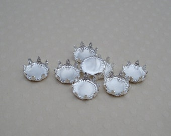 7.5mm Sterling Silver Plated Crown Edge Closed Back Round Flat Back Settings for Flat Back Cabs or Stones (12 pieces)