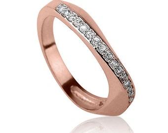 Infinity Diamonds Engagement Ring, Classic Rose Gold Engagement Ring , Diamonds Engagement Ring , White or Black Diamonds Ring