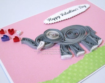 Paper Quilled Valentine's Day elephant card with hearts, READY TO SHIP