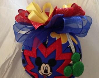 Mickey Mouse Ornament Quilted Christmas Ornament Disney Inspired Birthday Gift, Stocking Stuffer, Hostess Gift, Secret Santa, Christmas Gift