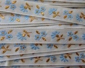 Italy 2 Yards Vintage Cotton Edging Embroidered Folkloric Fabric Sewing Metallic Trim Flowers  IT 25