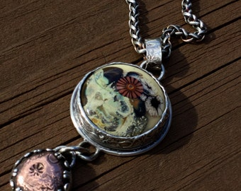 Copper Flowers Lampwork Pendant  with Patterned Bezel