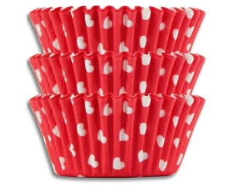 Red & White Hearts Baking Cups - 50 Valentines Day paper cupcake liners