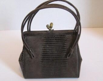 Vintage Brown Vinyl Imitation Snake Skin Purse Handbag