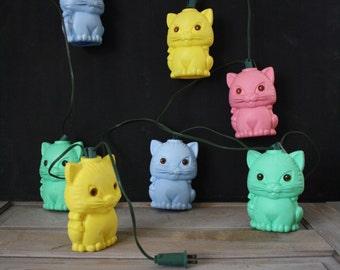 vintage. kitten cat retro plastic camper string lights. kitsch. kawaii cute. kid baby nursery. outdoor decor. mod. yellow pink blue