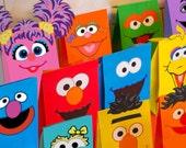 Sesame Street Party Favor Bags Printable -- DIGITAL -- Elmo, Bert, Ernie, Oscar, Big Bird, Cookie Monster, Grover, Abby, Zoe, Rosita, Count