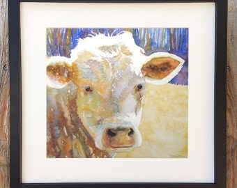 """Cow Art """"River Calf"""" 13x13"""" Framed/Matted Signed and Numbered Print"""