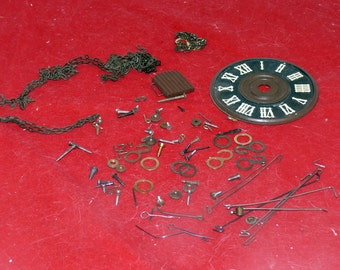 Cuckoo Clock Bits and Pieces - Clock Numbers, Chain, Screws, Hinges, Clips, Wires, Clock Door
