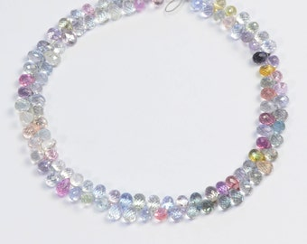 Gem Pastel Color Sapphire Faceted Teardrop Briolettes Bead 7.2 inch strand