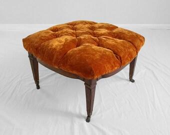hollywood regency orange velvet tufted ottoman