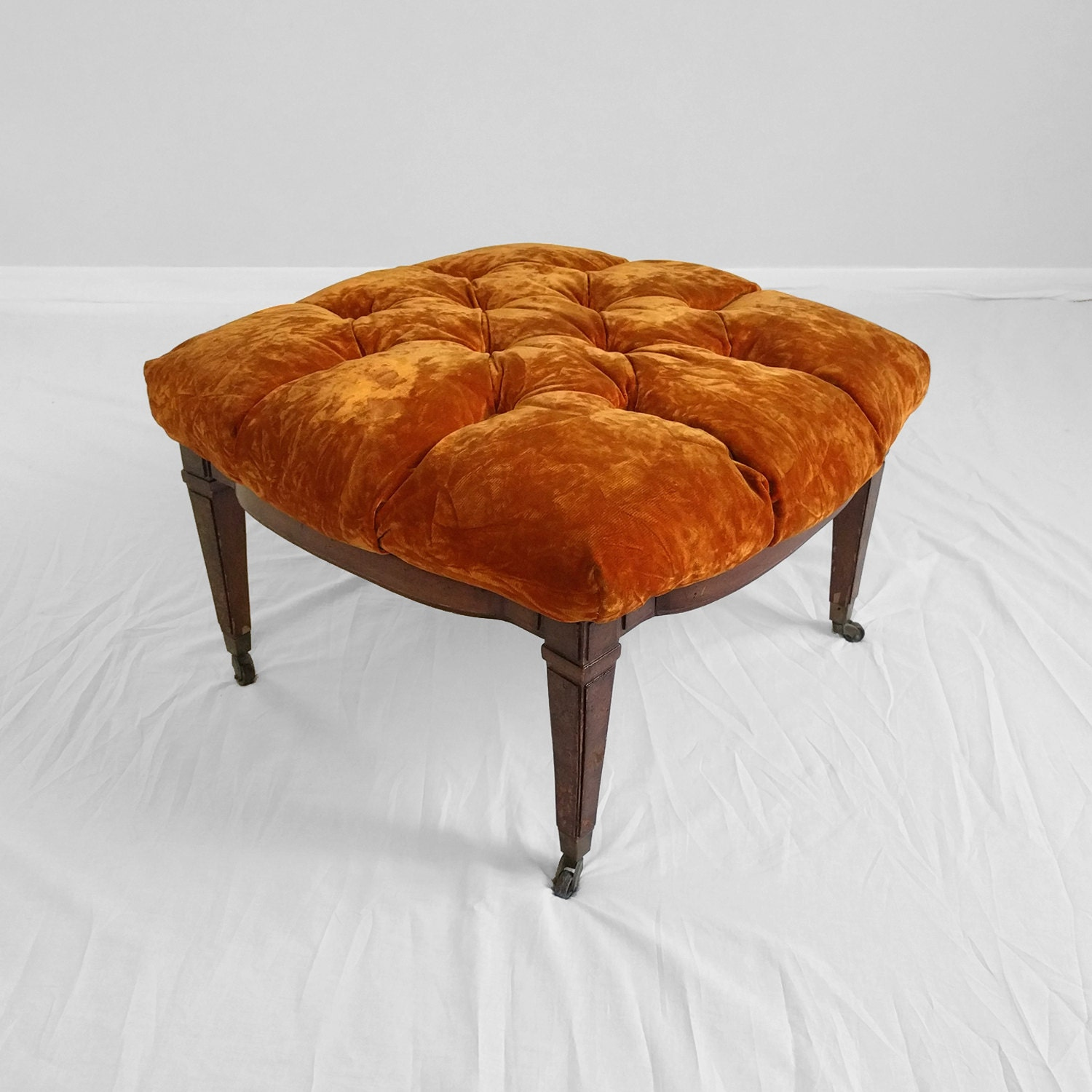 25 Sale Hollywood Regency Orange Velvet Tufted Ottoman