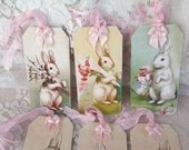Bunny Rabbit Gift Tags set of 6 Easter bunny tag Easter basket tag Vintage Inspired Easter Tag Birthday tag Baby Shower Tag