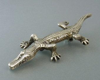 Vintage Sterling Silver Alligator Brooch