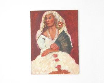 Vintage Unframed Portrait Painting // Flaminco Dancer // 18 x 24
