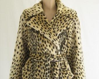 Vintage 60's Leopard Print Coat. Faux Fur Mod Leopard Coat
