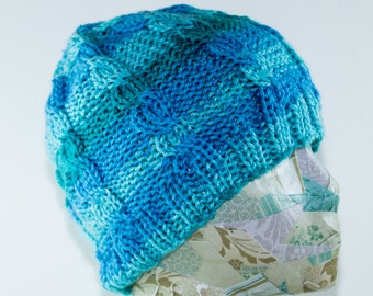 Blue Cabled Beanie- Adult Small/Medium