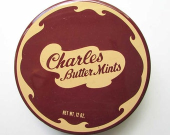 Vintage 1970's  Charles Butter Mints Candy, Mints Box, Tin Container, Button Box, Sewing Box, Chocolate Brown and Buttercream Yellow