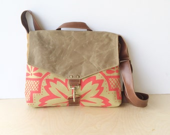 commuter • waxed canvas crossbody messenger bag • hot pink geometric floral print - brown waxed canvas - orange canvas • talavera