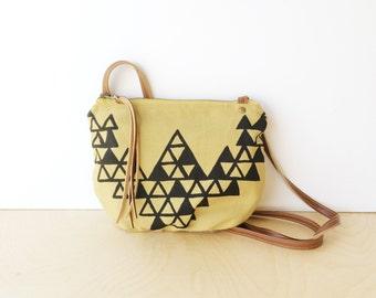 date purse  • small crossbody bag - geometric print • black and mustard khaki triangle geometric print - handprinted • vukani