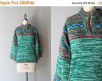 STOREWIDE SALE 1970s Sweater / Vintage 70s Space Dyed Sweater / Seventies Green Patterned Tunic Sweater