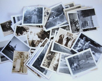 50 pcs. vintage assorted black and white photographs snapshots portraits pictures