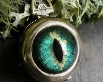 Gothic Steampunk Blue Green Eye 4 way Photo Locket