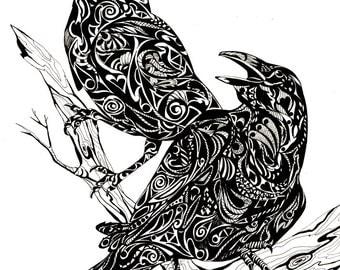 "8x10 Bird Art Raven, Crow, black bird ZENTANGLE Print by Sherry Shipley ""TALK of the TOWN"""