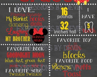 Miss Mouse custom ( Any age ) Birthday Chalkboard sign printable file ( Choose size 8x10, 11x14 or a 16x20