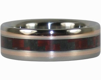Red Carbon Fiber and Rose Gold Titanium Ring