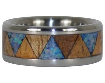 Blue Opal and Hawaiian Wood Tribal Ring