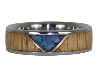 Blue Australian Opal and Mango Wood Titanium Ring