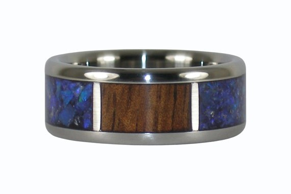 Australian Blue Opal and Koa Wood Ring