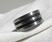 Ring or Wedding Band, Titanium with Black Rubber, Unique Style