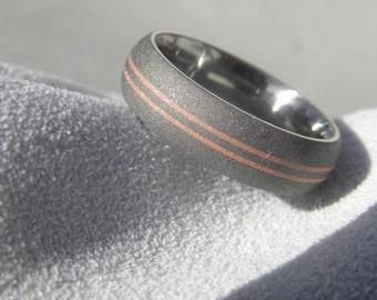 Titanium Ring with Copper Inlay Pinstripes, Wedding Band, Sandblasted
