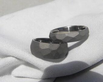Titanium Ring SET, Ground Profile Bands, Sandblasted Finish, Wedding Bands