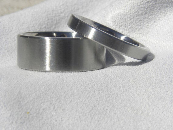 Ring Set, Titanium Wedding Bands, Flat Satin Finish