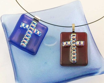 Fused glass CROSS pendant in blue or red - dichroic fused glass jewelry - OOAK (3597-3700)