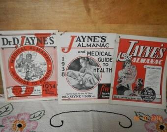 Nine Vintage Almanacs 1930s I940s Jayne's Almanac, Farmer's Handbook, Family Almanac