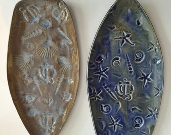 Decorative nautical platter: HM anchor design Tray ocean his hers dresser or wall decor shells starfish designer day at the beach dreams