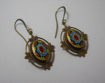 Mosaic Style Glass Cabochon Earrings in Brass Settings Vintage Oval Colorful Jewelry Dangle Drop Jewelry