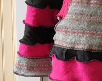Recycled Cowl Sweater -  Eco Friendly Style - Size Medium-Large