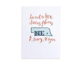Nebraska Letterpress Print // 1canoe2 // Hand illustrated