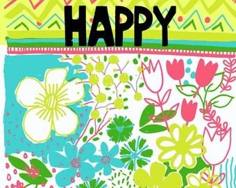 LIVE HAPPY, Wall Art Print, Teen Girl Room, Dorm Room Decor