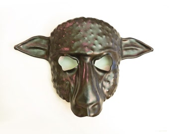 Sheep Leather Mask Black with a little bit of brown and grey
