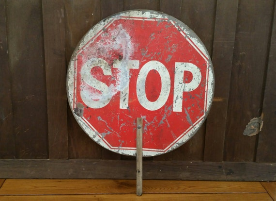 Vintage Hand Held Round Stop Sign Slow Sign. Personalized Family Signs. Sesame Street Signs. Map Signs. Directions Signs. School Zone Signs Of Stroke. Morning Signs. Undertale Signs. Hospital Acquired Pneumonia Signs