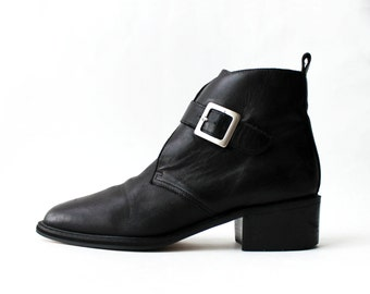 1990's Buckle Chukka Oxfords Black Leather Ankle Boots