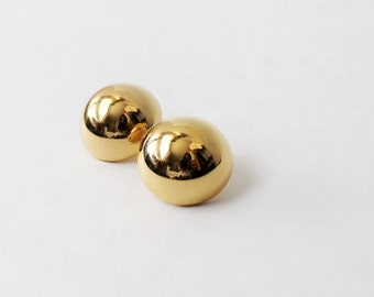 1970's Gold Toned Button Stud Earrings